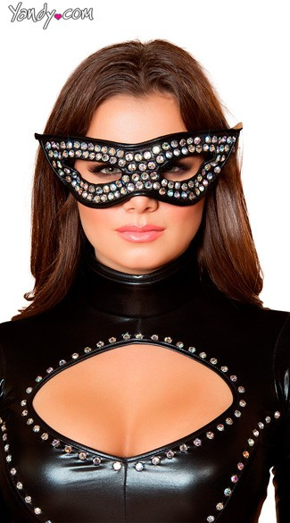 Rhinestone Mask, Studded Eye Mask, Rhinestone Cat Eye Mask