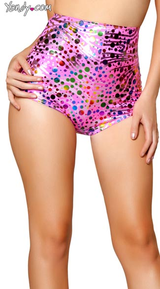 Rainbow Polka Dot High Waisted Shorts, Sexy High Waisted Shorts, Rainbow Shorts, Polka Dot Shorts