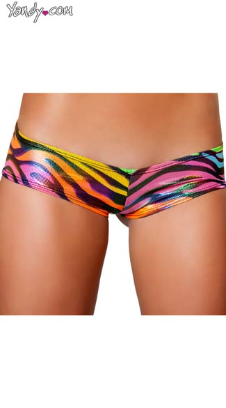 Rainbow Zebra Low Rise Short, Animal Print Booty Short, Rainbow Booty Short, Zebra Booty Short