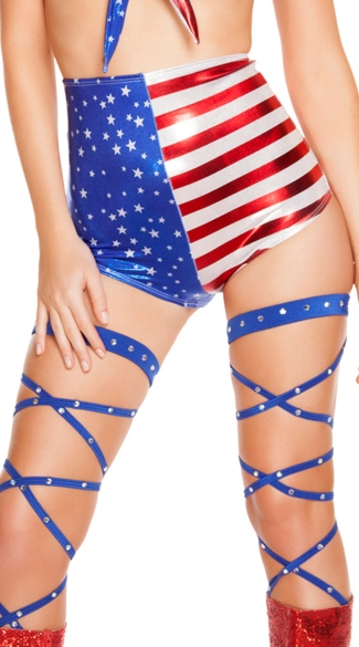 Stars and Stripes High Waisted Shorts - Red/White/Blue