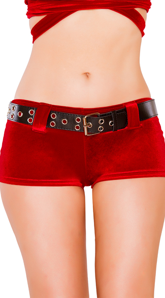 Red Velvet Shorts with Belt, Velvet Shorts, Red Shorts