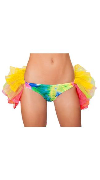 Rainbow Tie Dye Booty Shorts with Petticoat - Rainbow
