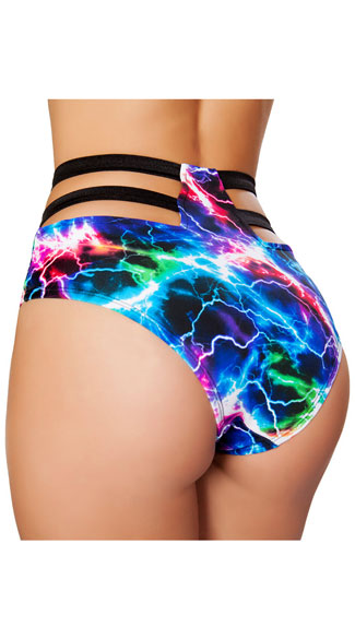 High Waisted Strappy Electric Shorts - Electric