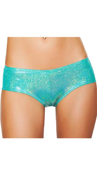 Shimmering Booty Shorts - Aqua
