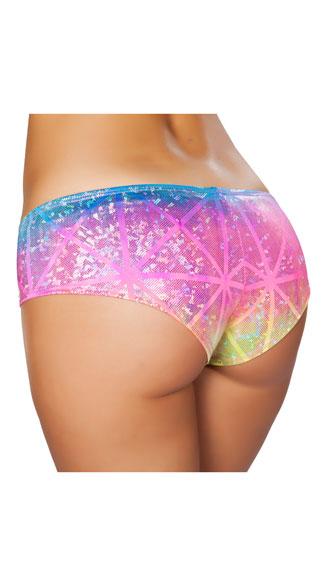 Shimmering Rainbow Booty Shorts - Laser Multi
