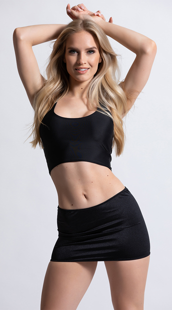 Clingy Lycra Mini Skirt - Black