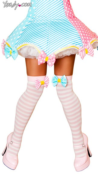 Pink and White Striped Stockings, Pink Striped Stockings, Adorable Thigh High Socks