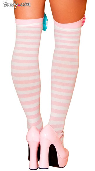 Pink and White Striped Stockings - Pink/White