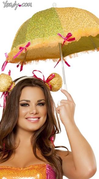 Sequin Umbrella and Headpiece - As Shown