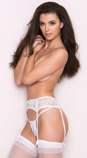 Seductive Lace Garter Belt - White