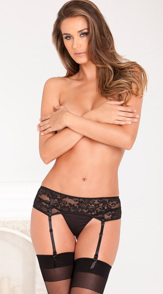 Seductive Lace Garter Belt - Black