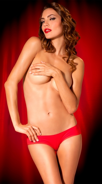 Red Light Sequin and Mesh Hipster Panty - Red