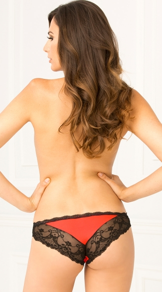 Red Crotchless Lace Panty - Red