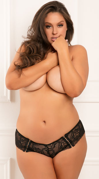 Plus Size Hot Hook Up Crotchless Panty - Black