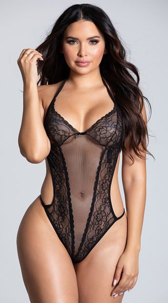 woman wearing a black crotchless teddy from the yandy collection