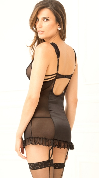 Strappy Half Cup Garter Chemise and G-String Set - Black