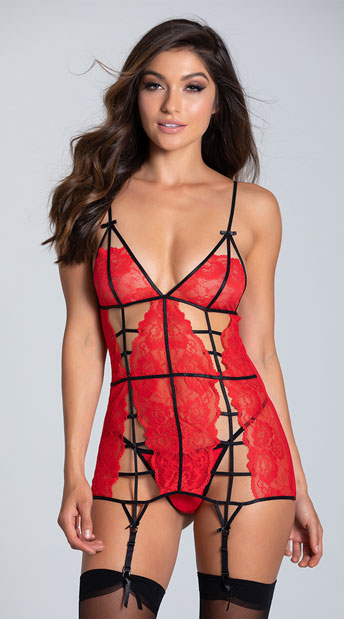 Red Lacy Cage Chemise Set - Red