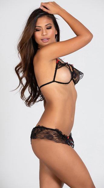 Lace Peek A Boo Bra And Crotchless Panty - Black
