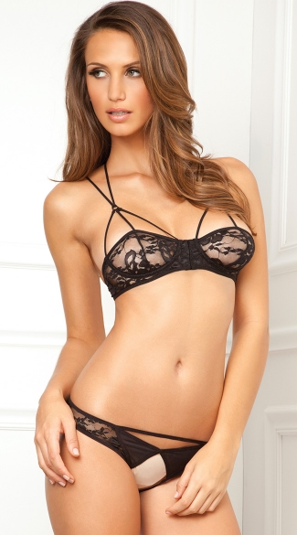 Lace Demi Bra and Crotchless Panty  - Black