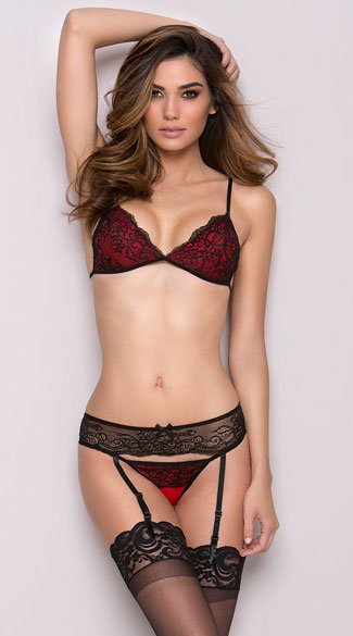Crowd Pleaser Bra and Garter Set, Black and Red Bra and Thong