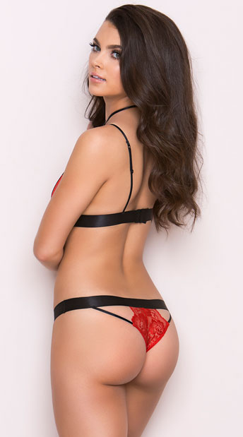 Cut-Out Red Lace Harness Bra Set - Red