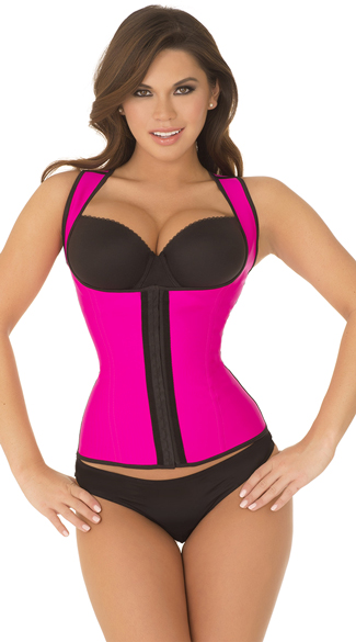 Hot Pink Thick Strapped Contour Waist Trainer, Hot Pink Strapped Waist Cincher, Strapped Waist Trainer