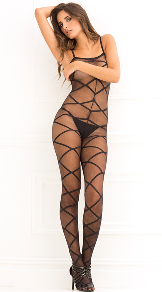 Strapped Up Sheer Bodystocking - Black