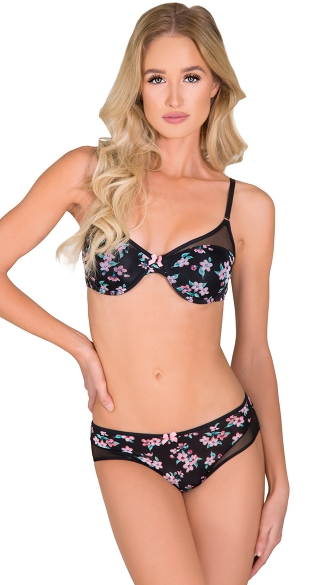 Black Cutting Corners Bra and Panty Set - as shown