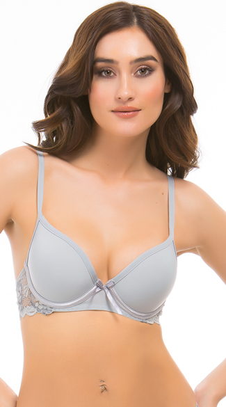 Grey Belinda Demi Bra, Grey Lace Bra, Smooth Grey Bra
