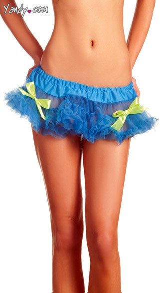 Blue Mini Petticoat With Neon Yellow Bows, Mini Blue Tutu With Ruffles And Neon Bows