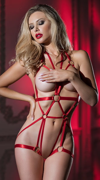 Carmine Cage Teddy - Red