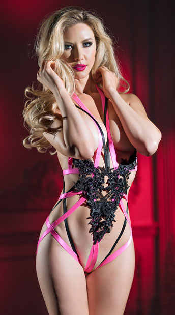 Candy Applique Teddy - Black/Pink
