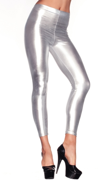 Shiny Lame' Footless Tights - Silver