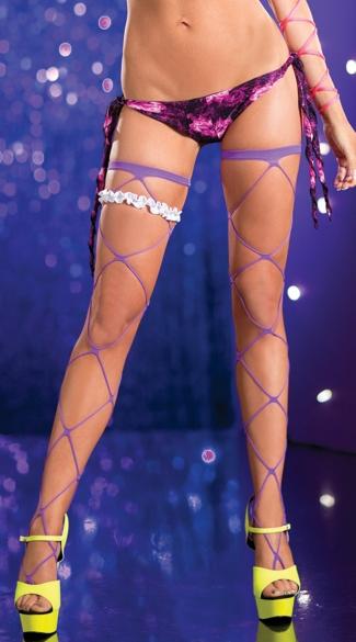 Jumbo Net Thigh Highs - Purple
