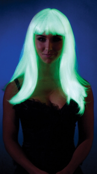 Glow In The Dark Wig with Bangs - Glow In The Dark