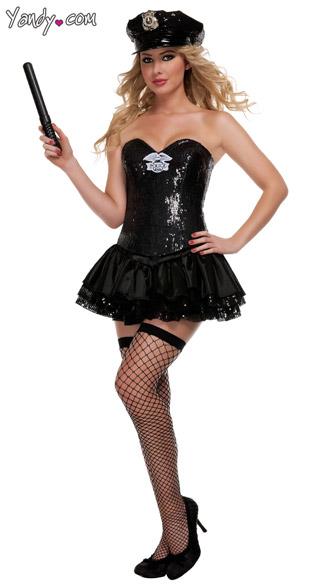 Deluxe Black Sequin Cop Costume - As Shown