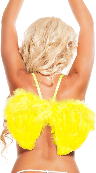 Neon Yellow Mini Wings, Yellow Feather Wings