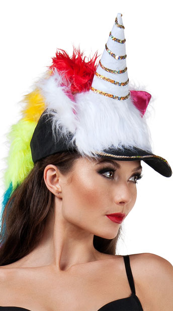 Fuzzy Unicorn Hat - As Shown