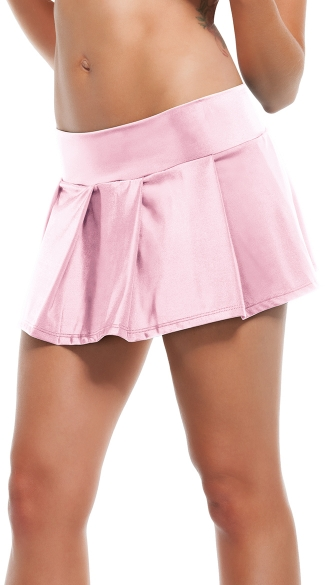 Solid Pleated Mini Skirt - Pink