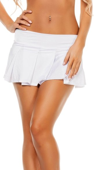 Solid Pleated Mini Skirt - White