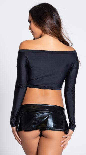 Mini Vinyl Pleated Skirt - Black