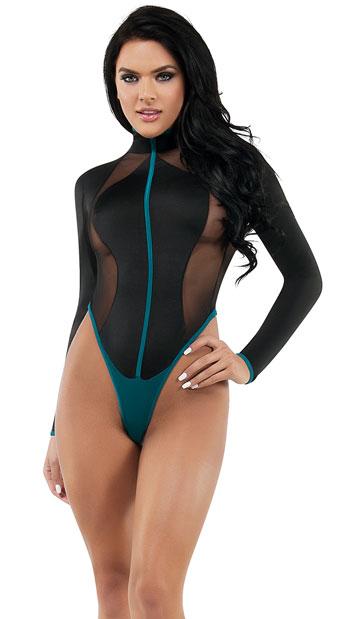 Surf Fantasy Lingerie Costume - Black/Teal