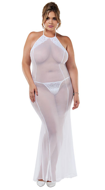 90e7bff0bcc Plus Size Duchess Night Gown Set - White ...