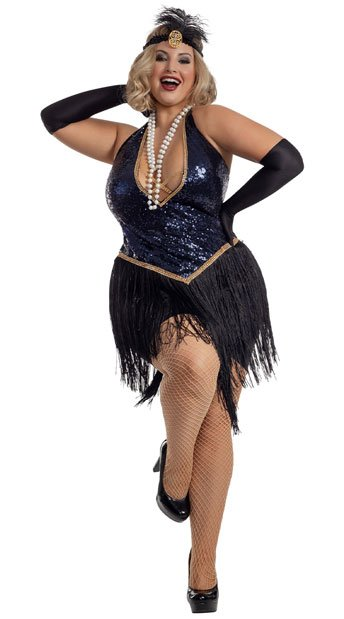 Sexy Plus Size Blue Sequin Flapper Costume