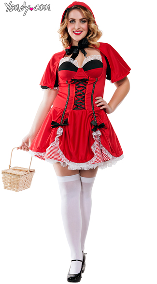 Plus Size Miss Riding Hood Costume, Plus Size Sexy Fairytale Costumes, Plus Size Red Riding Hood Outfit