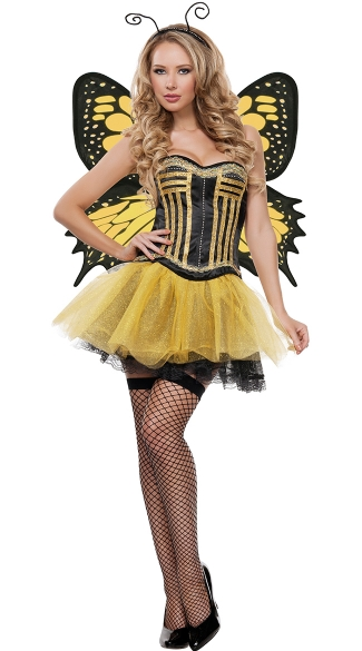 Yandy Fluttering Butterfly Beauty Costume - Yellow/Black