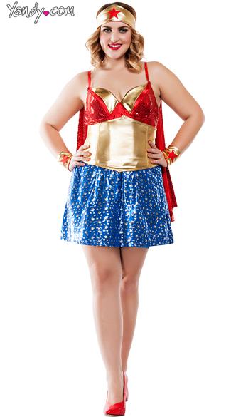 Plus Size Superhero Babe Costume - As Shown