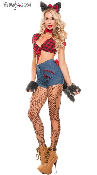 Sexy Hungry Werewolf Costume - As Shown