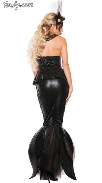 Black Sequin Mermaid Costume - As Shown