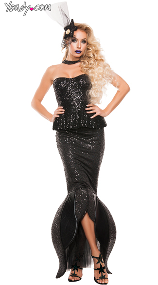 Black Sequin Mermaid Costume, Under The Sea Costume, Sexy Mermaid Costume